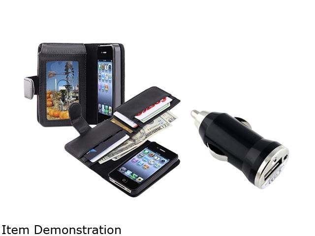 Insten Black Leather Case with Wallet+Black Universal USB Mini Car Charger Adapter Compatible With Apple iPhone 4 4S