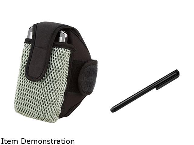 Insten Black w/ Silver Trim Universal Armband+Black Universal Touch Screen Stylus Compatible With Motorola Droid A855 Droid Razr Maxx