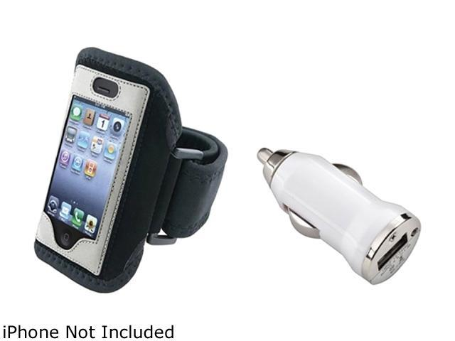 Insten Black w/ Silver Trim Deluxe ArmBand+White Universal USB Mini Car Charger Adapter Compatible With Apple iPhone 4 4S