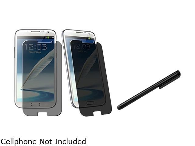 Insten Privacy Filter Screen Protector +Black Universal Touch Screen Stylus Compatible With Samsung Galaxy Note II N7100