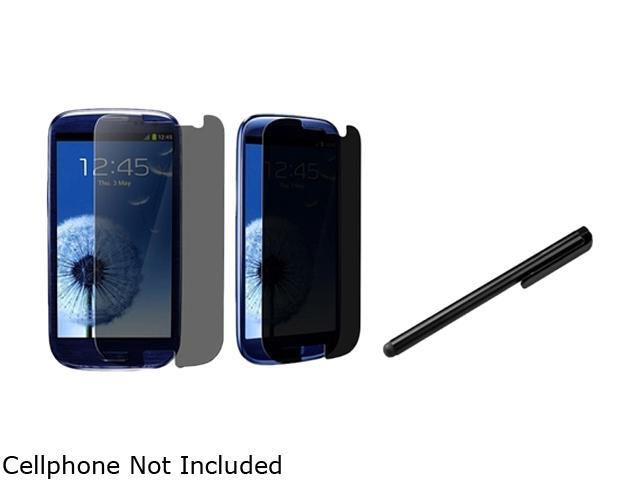 Insten 2X Privacy Filter Screen Protector +Black Universal Touch Screen Stylus Compatible With Samsung Galaxy SIII / S3