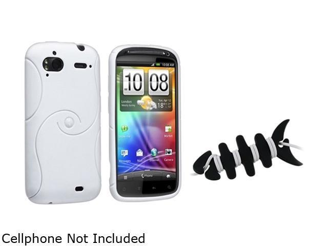 Insten White S Shape TPU Rubber Skin Case+Black Headset Smart Wrap Compatible With HTC Z710e / Sensation 4G / Pyramid