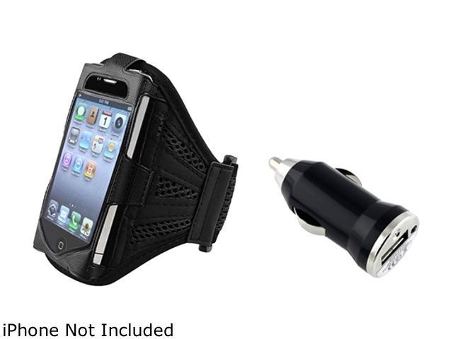 Insten Black / Black Deluxe Armband+Black Universal USB Mini Car Charger Adapter Compatible With verizon iPhone 4 4S