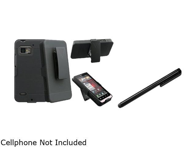 Insten Black Holster with Stand+Black Universal Touch Screen Stylus Compatible With Motorola Droid Bionic XT875
