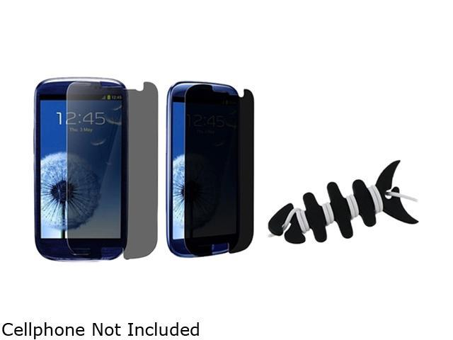Insten Black Headset Smart Wrap+3X Privacy Filter Screen Protector Compatible With Samsung Galaxy SIII / S3