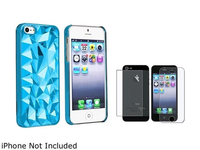 Insten Clear Blue Diamond Cut Clip-on Case + 2 LCD Kit (Front & Back) Anti-Glare Screen Cover Compatible With Apple iPhone 5 / 5s 831743