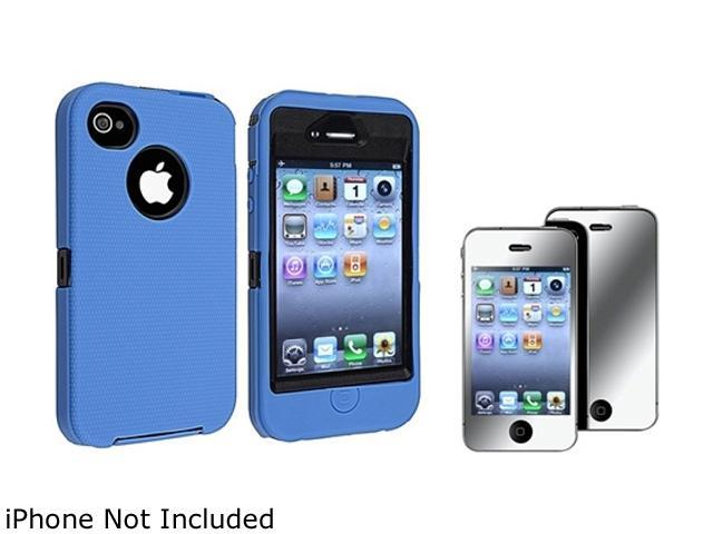 Insten Black Hard/ Blue Skin Hybrid Case And Mirror Screen Protector for Apple iPhone4 / 4S 730781
