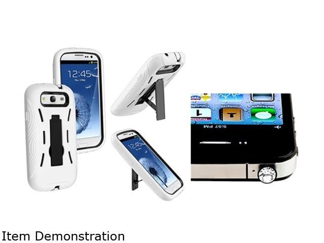 Insten Black Hard / White Skin Hybrid Case w/ stand with Clear Diamond Headset Dust Cap for Samsung Galaxy S III i9300 1051577