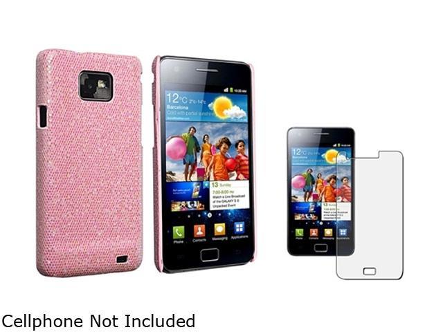 Insten Hot Pink Bling Rear Snap-on Case + Anti-Glare Screen Protector 1051568