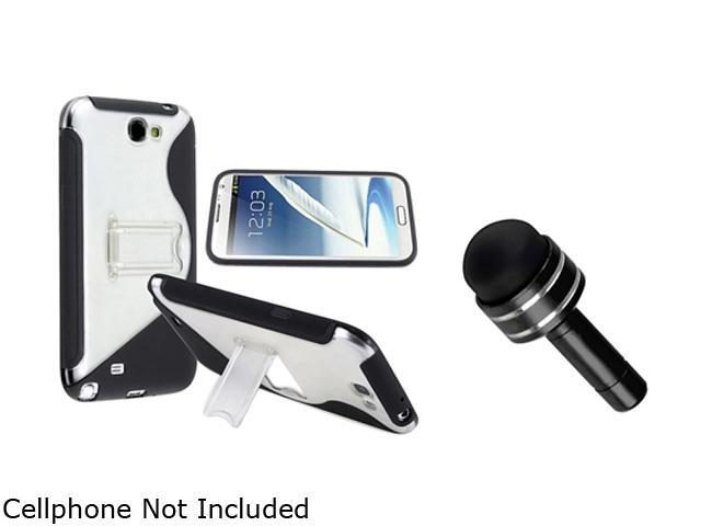 Insten Black/Clear S Shape TPU Rubber Skin Case w/ stand with FREE Black Headset Dust Cap with Mini Stylus 1051560