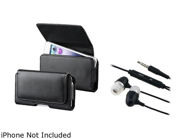 Insten Black Phone Leather Case with Magnetic Flap + Black In-ear (w/on-off) Stereo Headsets 1051554