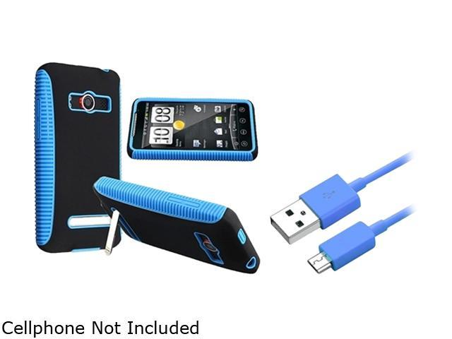 Insten Blue TPU / Black Plastic Hybrid Case + 3 FT Blue Micro USB 2- in-1 Cable 1047337