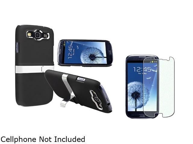 Insten Black/ Silver Snap-on Rubber Coated Case with Stand And Colorful Diamond Screen Protector for Samsung Galaxy S3 /  SIII i9300 793146
