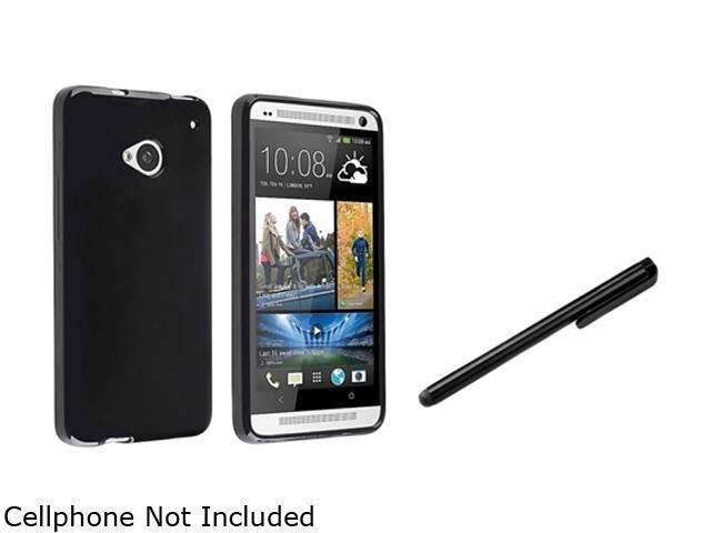Insten Black Jelly TPU Case Cover + Black Stylus Pen Compatible with HTC One M7
