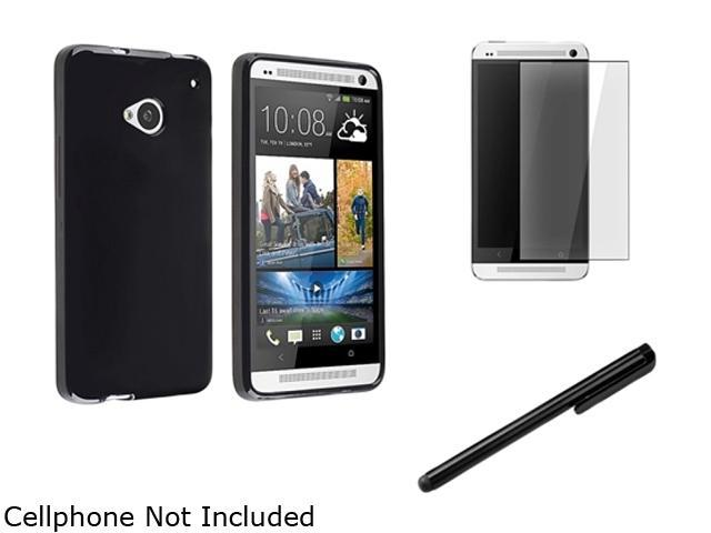 Insten Black Jelly TPU Case Cover + LCD Cover + Stylus Pen Compatible with HTC One M7