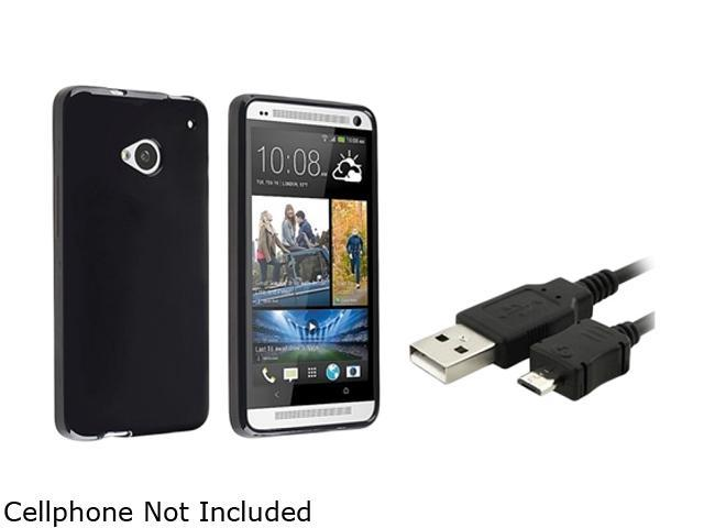 Insten Black Jelly TPU Case Cover + Charging Data Cable Compatible with HTC One M7