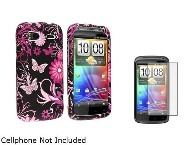 Insten Pink Butterfly Snap-on Case + Reusable Screen Protector Compatible with HTC Sensation 4G