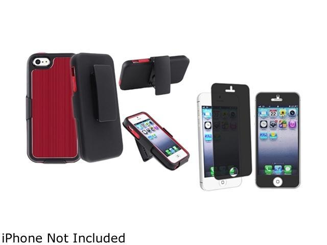 Insten Red Brushed Aluminum Swivel Holster with Stand with FREE Privacy Filter compatible with Apple iPhone 5 - 803640