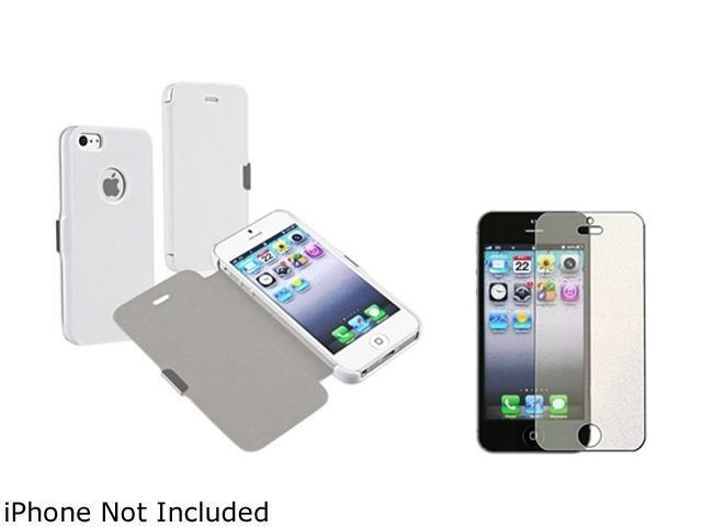 Insten White Luxury Magnetic Flap Leather Case + Colorful Diamond Screen Protector for Apple iPhone 5 - 803665