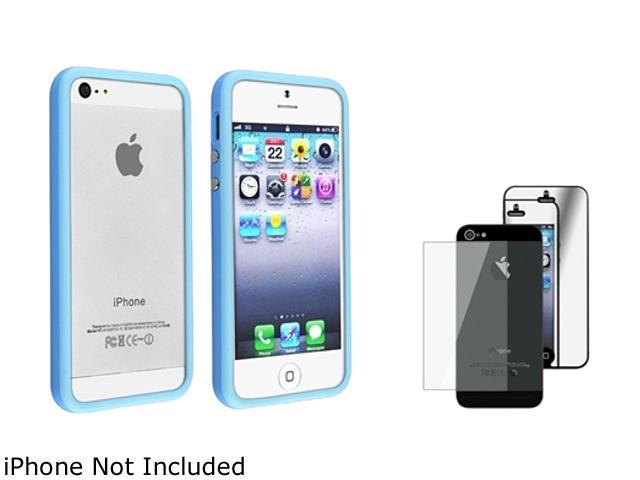 Insten Light Blue Aluminum Button Cover Bumper TPU Case Cover + Mirror Front & Back Screen Protector Set Compatible With Apple iPhone 5 / 5s 803710