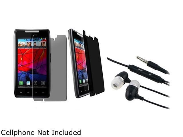 Insten Privacy Filter Screen Protector +Black 3.5mm In-Ear Stereo Headset w/ On-off & Mic Compatible With Motorola Droid Razr Maxx XT913 / XT916, Droid Razr XT912 / XT910