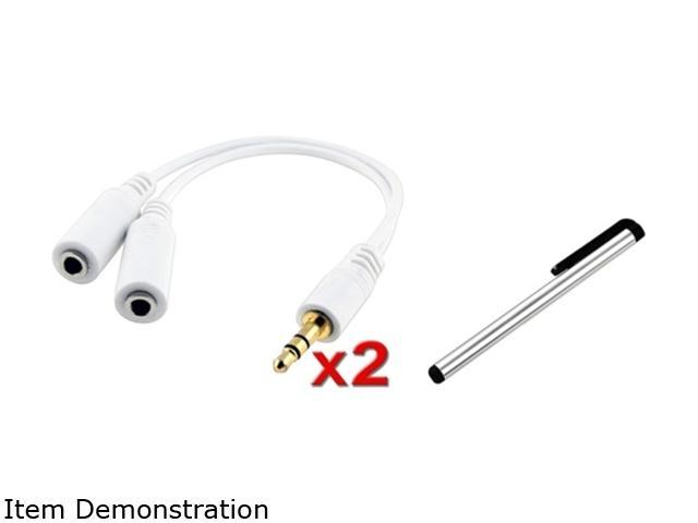 Insten 2x Headset Splitter Compatible with Samsung Galaxy i9300 S4 i9500 Note 2 i9300 + Silver Stylus