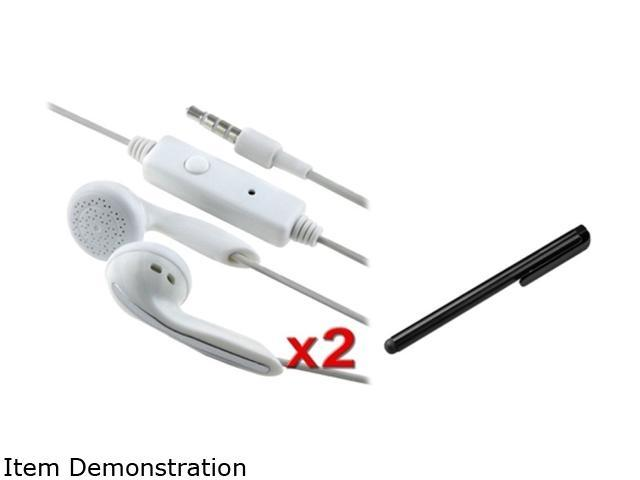 Insten 2x White Earphone + Black Stylus Compatible with Samsung Galaxy i9300 S4 SIV i9500 i8190 N7100