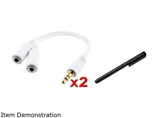 Insten 2x White Headset Splitter + Black Stylus Compatible with Samsung Galaxy S3 i9300 S4 i9500 Note 2