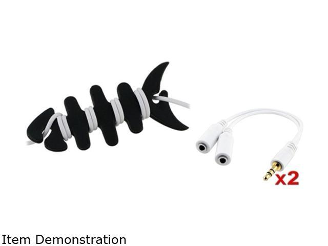 Insten 2x White Headset Splitter + Fishbone Wrap Compatible with Samsung Galaxy S3 i9300 S4 i9500 Note2