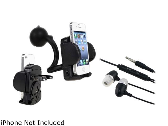 Insten Black 3.5mm In-Ear Stereo Headset w/ On-off & Mic+2X black Cellphone & PDA Holder - Windshield Mount Compatible With Motorola Droid Triumph Droid 2 A955