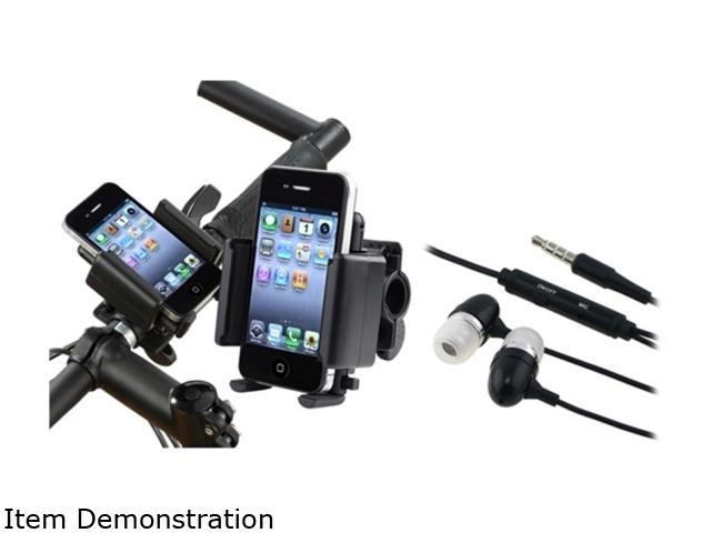 Insten Black Holder Stand + Black Headset Compatible with Samsung Galaxy S 3 i9300 S4 SIV i9500 i8190