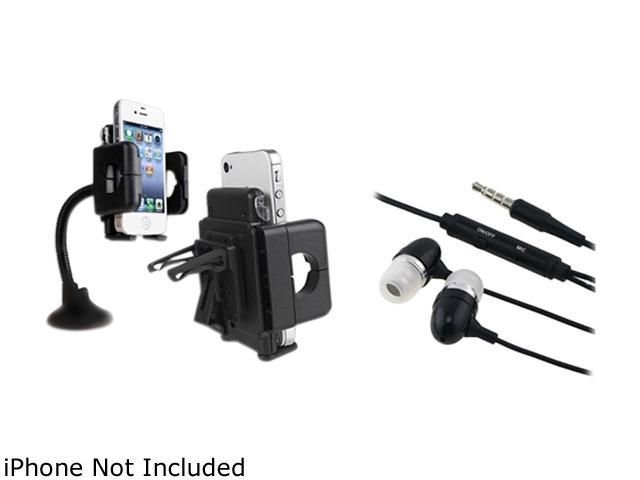 Insten In Car Holder Mount + Black Headset Compatible with Samsung Galaxy S3 i9300 S4 SIV i9500 i8190