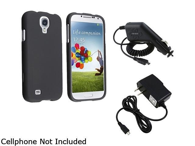 Insten Black Rubber Coated Hard Cover Case + Travel/Wall Charger + Car Charger Compatible with Samsung Galaxy S4 / S IV / i9500