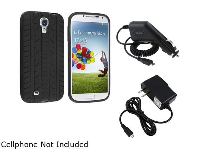 Insten Black Tyre Silicone Skin Cover Case + Travel/Wall Charger + Car Charger Compatible with Samsung Galaxy S4 / S IV / i9500