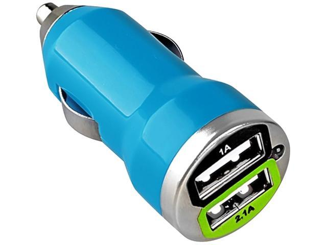 Insten Dual USB Mini Car Charger Adapter compatible with Samsung Galaxy S4 / SIV / i9500, Blue