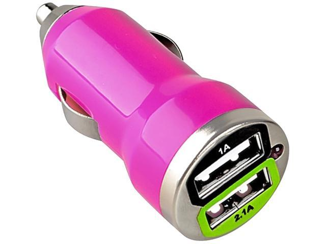 Insten Dual USB Mini Car Charger Adapter compatible with Samsung Galaxy S4 / SIV / i9500, Hot Pink