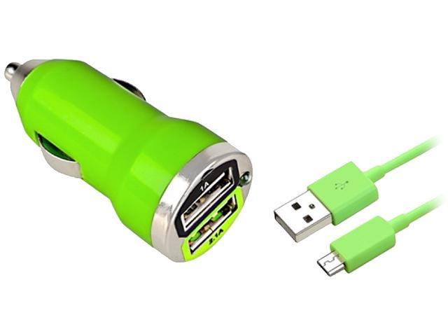 Insten Green Micro USB 2- in-1 Cable 3FT+Green Dual USB Mini Car Charger Adapter Compatible With Motorola Droid X X2 Droid Razr Maxx XT926