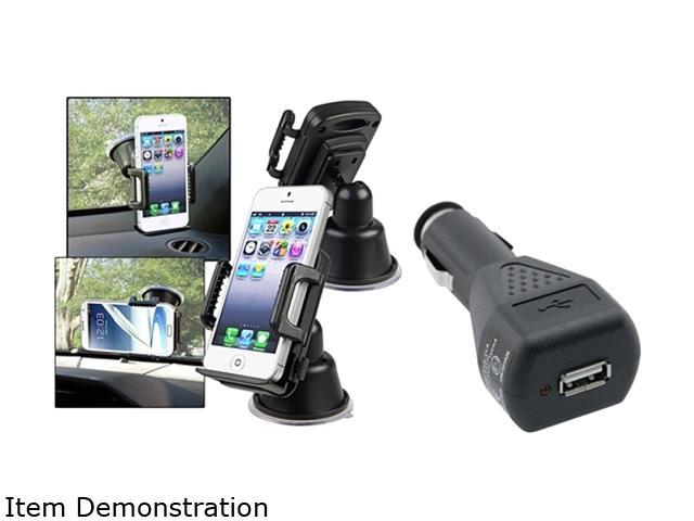 Insten Suction Holder Mount Compatible with Samsung Galaxy S3 S4 i9500 Note 2 + Black Car Charger Adapter