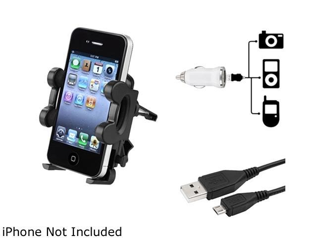 Insten 1m USB Cable + Air Vent Mount + White Mini DC Charger Compatible with Samsung Galaxy SIV S4 i9500