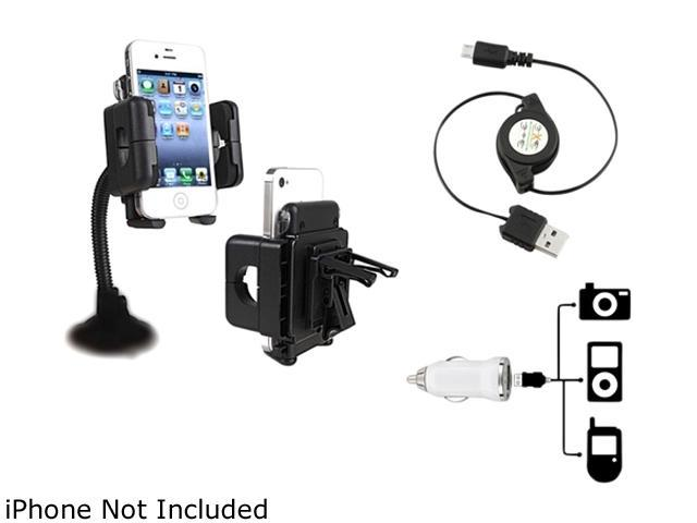 Insten 3-in-1 Phone Mount + White Mini Car Charger Set Kit Compatible with Samsung Galaxy S4 SIV i9500