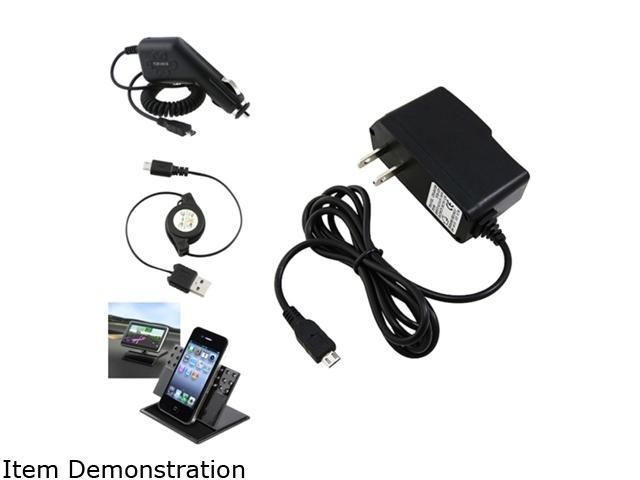 Insten 4 Accessory Car Home Charger Bundle Compatible with Samsung Galaxy S4 SIV i9500 i9300