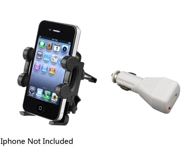 Insten Air Vent Holder + White Car Charger Adapter Compatible with Samsung Galaxy Note 2 S4 i9500 i9300