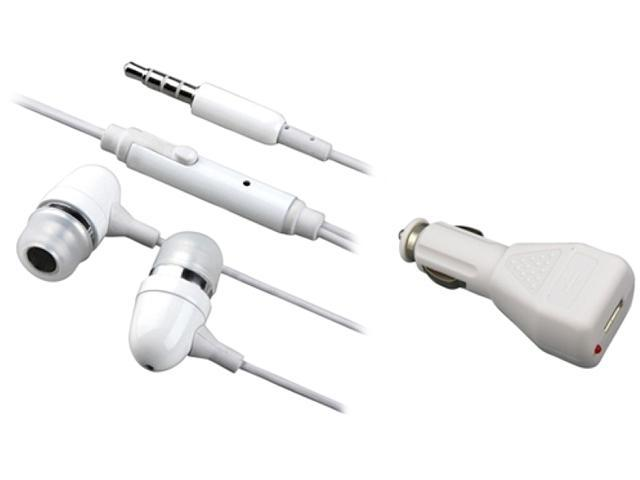 Insten White DC AC Charger + Handsfree Compatible with Samsung Galaxy SIII i9300 S4 i9500 i8190 N7100