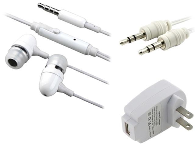 Insten White Travel Charger + Headset Compatible with Samsung Galaxy S3 SIII i9300 i9500 S4 SIV Note 2