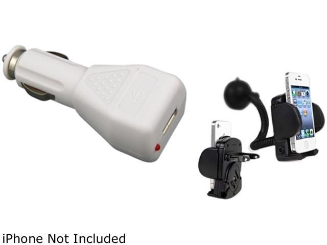 Insten Car Suction Holder + White Car Charger Plug Compatible with Samsung Galaxy SIII i9300 S4 i9500