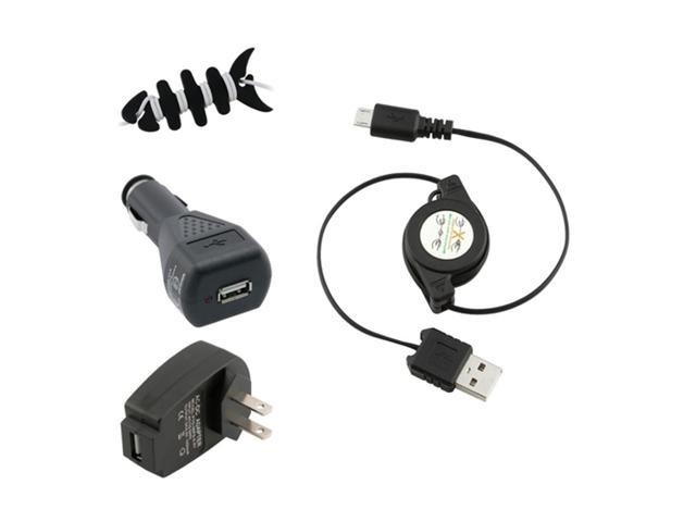 Insten USB Car Wall Charger + Fishbone Wrap Compatible with Samsung Galaxy S3 i9300 S4 i9500 i8190 S2