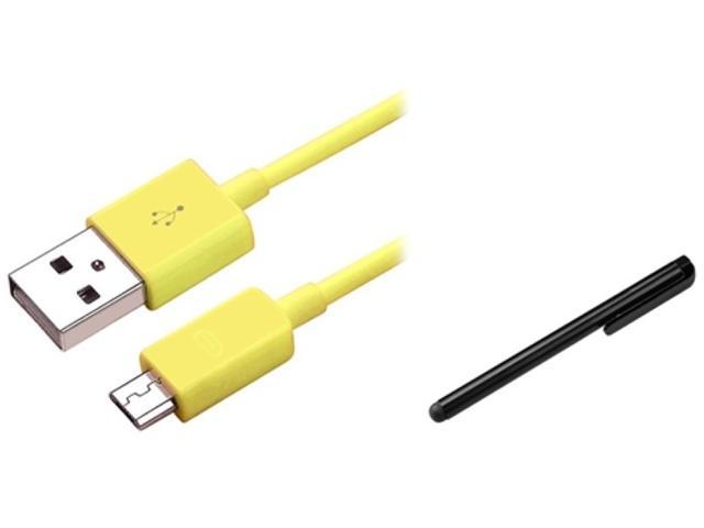 Insten Yellow Micro USB Cable + Black Stylus Compatible with Samsung Galaxy S3 i9300 i9500 S4 i8190