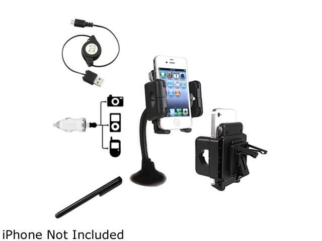 Insten 3 Mount + White Car Charger Set Kit + Black Stylus Compatible with Samsung Galaxy S4 SIV i9500