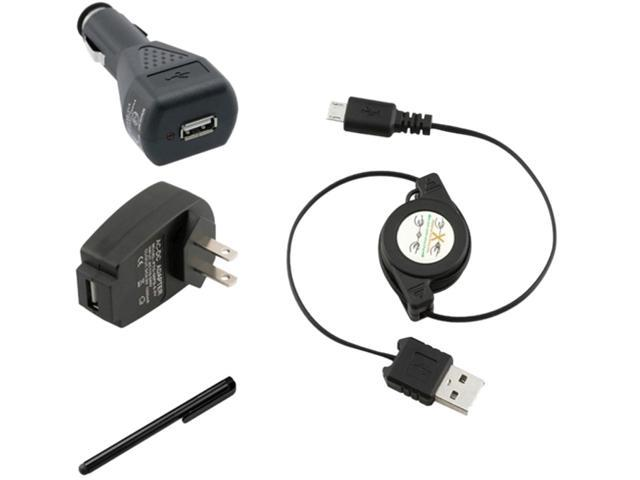Insten 3-in-1 USB Car Charger + Black Stylus Compatible with Samsung Galaxy S3 i9300 S4 i9500 i8190 S2