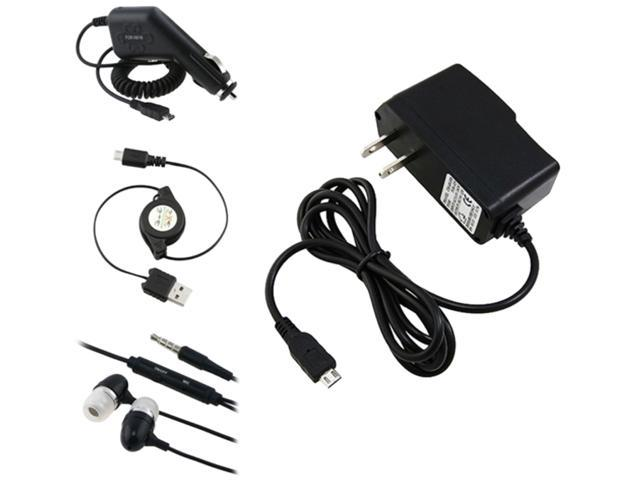 Insten Car + Home Charger + Cord + Black Headset Compatible with Samsung Galaxy S3 SIII i9300 i9500 S4 SIV